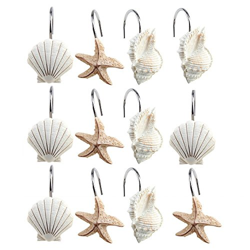 AGPtek 12PCS Home Fashions Seashell Anti Rust Decorative Resin Hooks for Bathroom Shower Curtain,Baby room,Bedroom,Living room Curtain.(Yellow Shell)