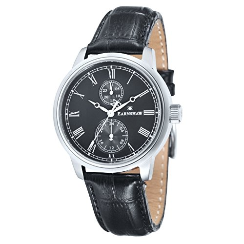 Thomas Earnshaw Cornwall Men's Quartz Watch with Black Dial Analogue Display and Black Leather Strap ES-8002-01