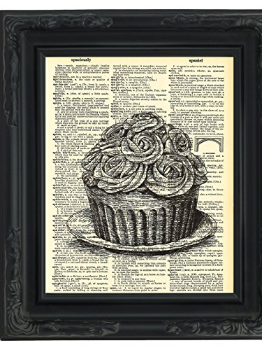 Dictionary Art Print Cupcake Printed On Recycled