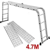chinkyboo® 4.7m(15.5ft) Multi Purpose Aluminium Extension Ladder with Scaffold Platforms