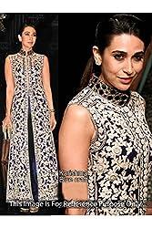 Designer Dark Blue,Silver GEORGETTE Bollywood Replica Dress.