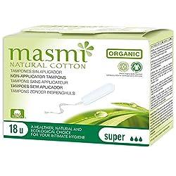 Masmi Chlorine Free Certified Organic Cotton Digital or Non-Applicator Super Tampon 18s