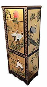 Gold Leaf Jewellery Armoire / Jewellery Box, Chinese & Oriental Furniture