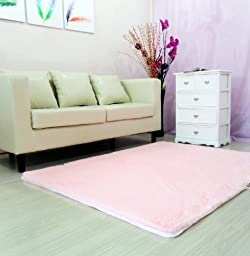 Auvoau Super Soft Modern Shag Area Rugs Purple Living Room Carpet Bedroom Rug Washable Rugs Solid Home Decorator Floor Rug and Carpets 4- Feet By 5- Feet (Pink)