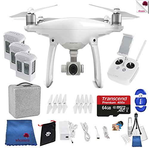 DJI Phantom 4 Extra Battery Bundle Includes: DJI Phantom 4 Drone + 3 Batteries (total) + Controller + Foam Case + 64 GB Memory Card + More