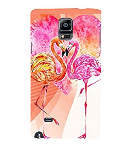 PrintVisa Love Hearts Colorful Birds 3D Hard Polycarbonate Designer Back Case Cover for Samsung Galaxy Note 4