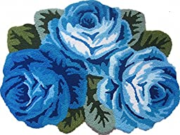 Dream Home Countryside 3 Rose Flower Decoration Carpet Bedroom Kitchen Area Rugs, (Blue)
