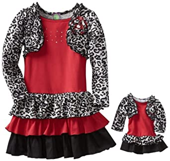 Dollie & Me Little Girls' Long Sleeve Cheetah Print Dress, Black/White/Red, 4