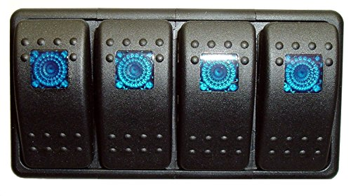 Fastronix Lighted (4) Weatherproof Rocker Switch Panel Auto/Marine (Blue) (12v Rocker Switch Panel compare prices)