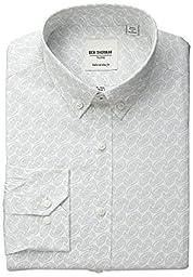 Ben Sherman Men\'s Paisley Shirt with Button Down Collar - Grey, White/Grey, 15.5 32/33