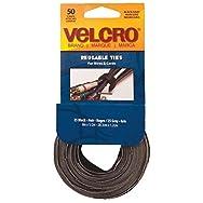 Velcro USA 90924 VELCRO brand Reusable Hook & Loop Tie-50CT BLK REUSABLE TIES