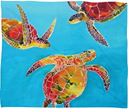 DENY Designs Clara Nilles Tie Dye Sea Turtles Fleece Throw Blanket 80 by 60-Inch