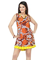 ADS Womens Digital Print Light Blue Kurti/Tunic(ADS04)