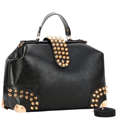 DARKO Gothic Black Gold Studded Doctor Style Top Handle Office Tote Bowler Handbag Satchel Purse Shoulder Bag by MyGift Picture
