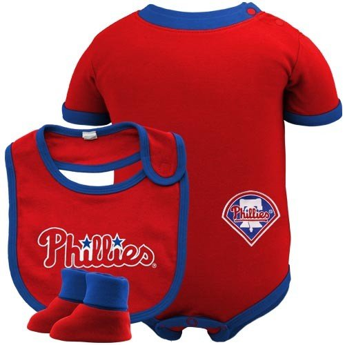 MLB Infant/Toddler Boys' Philadelphia Phillies Onesie Bib & Bootie (Red, 12 Months) at Amazon.com