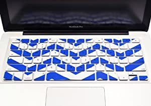 """TopCase Chevron Zig - Zag Silicone Keyboard Cover Skin for Macbook 13"""" Unibody / Macbook Pro 13"""" 15"""" 17"""" with or Without Retina Display / New Macbook Air 13"""" / Wireless Keyboard + TopCase Mouse Pad (ROYAL BLUE)"""