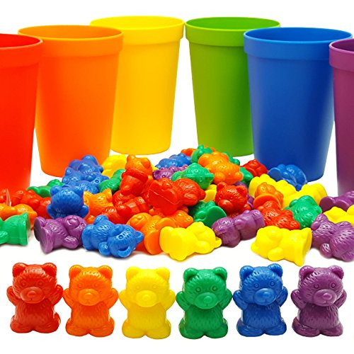 60-Rainbow-Counting-Bears-with-Color-Matching-Sorting-Cups-Set-by-Skoolzy-Montessori-Toddler-Counters-Preschool-Math-Manipulative-Toys-for-Girls-and-Boys-Free-Activity-Guide-Download