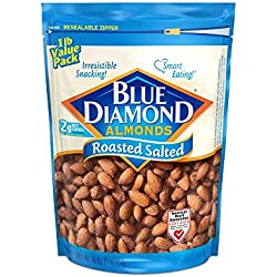 Blue Diamond Gluten Free Almonds, Roasted Salted, 16 Ounce (Pack of 3)