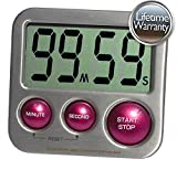 eT's Elegant Digital Kitchen Timer Model eT-24 (Plum) Stainless Steel, Strong Magnetic Back, Kickstand, Loud Alarm, Large Display, Auto Memory, Auto Shut-Off