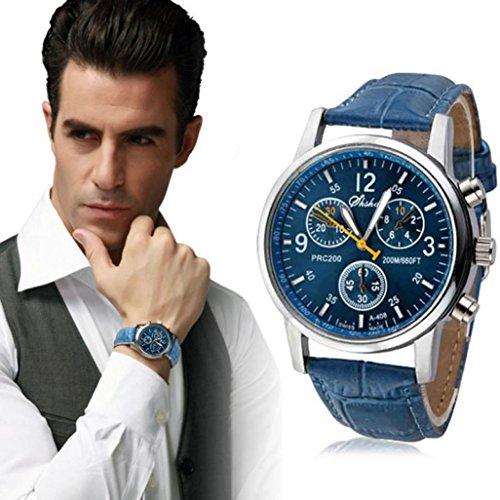 Beautyvan,New Luxury Fashion Crocodile Faux Leather Mens Analog Watch Watches Blue