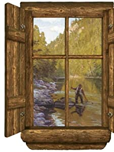 Wallpaper 4walls gifts for guys log cabin window peel and for Log cabin window treatments