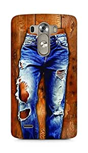 Amez designer printed 3d premium high quality back case cover for LG G3 (Girl in stylish torn Jeans on wooden Texture)