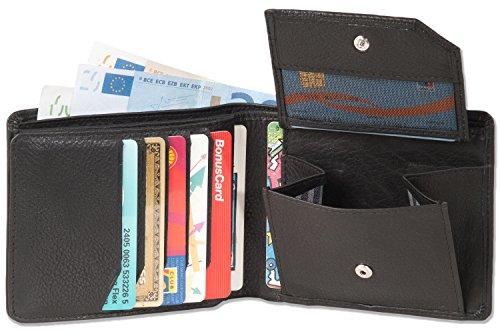 Platino - Portafoglio orizzontale con spazio per 11 carte di credito da, morbida pelle naturale, con qualità di prima classe