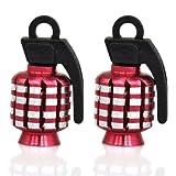 Rouge TRIXES Paire de soupape en forme de Grenade en alliage Bouchon anti-poussière pour moto/MTB/BMX/automobile...