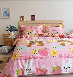 LELVA Pink Rilakkuma Bedding Sets, Kids Bedding Girls, Cotton Baby Bedding Set, Children\'s Duvet Cover Set (Fitted Sheet, Full)