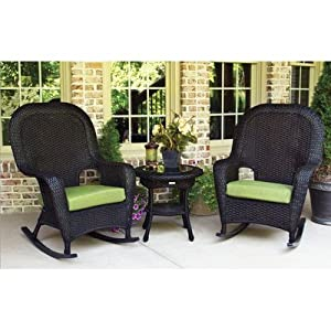 Lexington 3 Piece Rocker Seating Group with Cushions Finish: Tortoise, Fabric: Jockey Red