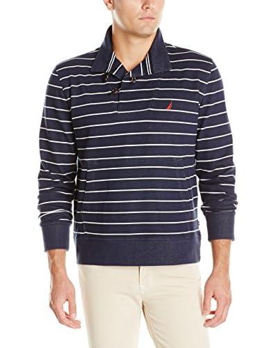 Nautica Men's Toggle Neck Long Sleeve Polo