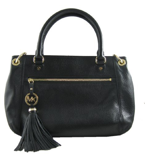 Michael Kors Charm Tassel Leather Satchel Handbag Purse Crossbody Bag Black