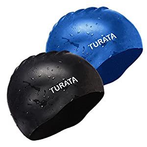 2 Pack Swimming Cap - TURATA® Waterproof Unisex Premium Earmuffs Silicone No-Slip Swimming Cap for Adults Kids Woman and Men One Size Hat - Black & Blue