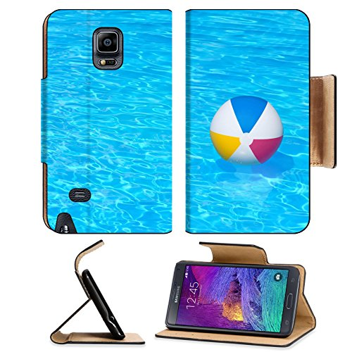 MSD Samsung Galaxy Note 4 Flip Pu Leather Wallet Case Inflatable colorful ball floating in a swimming pool IMAGE 24181082