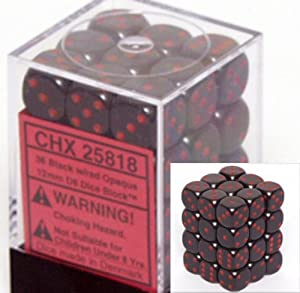 Chessex Dice d6 Sets: Opaque Black with Red - 12mm Six Sided Die (36) Block of Dice