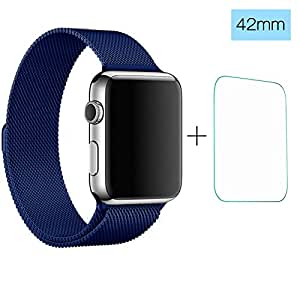 Apple Watch 42mm Band, ClockChoice Milanese Loop Stainless Steel Bracelet Strap for iWatch, BLUE | Unique Magnet Lock, No Buckle Needed, Women and Men Use | Bonus Tempered Glass Screen Protector
