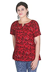 Printed high red clour tops wear