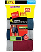 Hanes Mens TAGLESS & Boxer Briefs with Comfort Flex & Waistband 6-Pack (Includes 1 Free Bonus Boxer Brief)