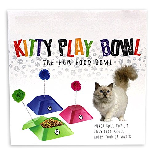 Kitty Cat Pet Food & Water Bowl with Fun Punch Ball Toy Lid (PINK)