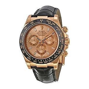 Rolex Daytona Chronograph Rose Dial Black Leather Watch 116515PKDL