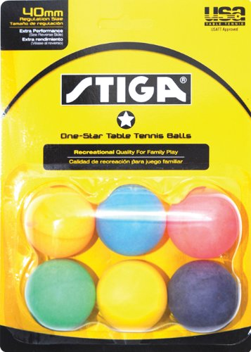 Buy Cheap Stiga 1-Star Multi Color Table Tennis Balls (6 Pack)