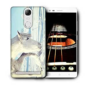Snoogg White Snow Horse Printed Protective Phone Back Case Cover For Lenovo K5 Note