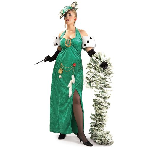 [Rubies Costumes Women's Lady Luck Adult Costume 16-20 Green] (Lucky Lady Casino Costume)