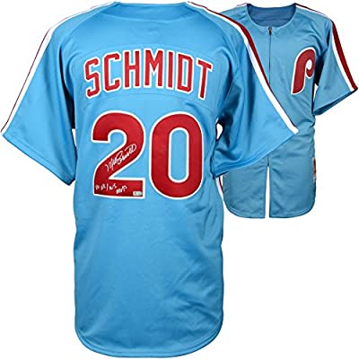 Mike Schmidt Philadelphia Phillies Autographed Mitchell & Ness Authentic Light Blue 1980 Jersey Inscription with 80 NL/MVP Inscription - Fanatics Authentic Certified
