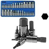 Neiko® 10288A Hex Allen Bit Socket Set, SAE and Metric, S2 Steel |32-Piece Set