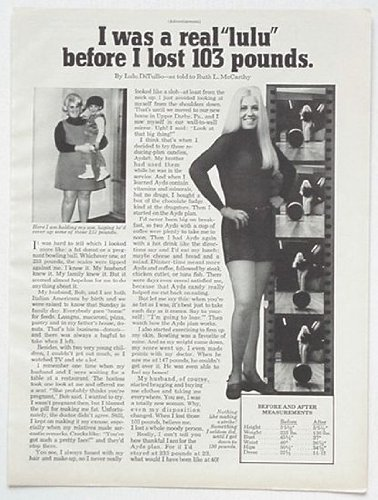 1972 Lulu DiTullio Ayds Weight Loss Print Ad (3558)