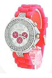 shot-in Lady Girl Women Geneva Silicone Crystal Quartz Movement Jelly Wrist Watch