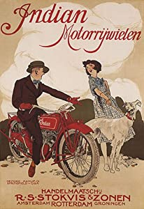 INDIAN BIKE MOTORCYCLE DOG AMSTERDAM ROTTERDAM COUPLE VINTAGE POSTER REPRO
