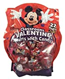 Disney Mickey Mouse & Mini Mouse Classroom Valentine Day Hearts with Candy 22 Pack