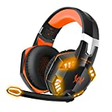 Stereo Bass Surround Gaming Headset, Homgrace Over Ear Gaming Headphones with Mic, Noise Reduction, LED Lights and Volume Control for Laptop, PC, Mac, iPad, Smartphones ( Orange) (Color: orange , Tamaño: Orange)